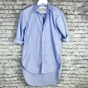 Frank Eileen Womens Blue Pink Check Open Collar